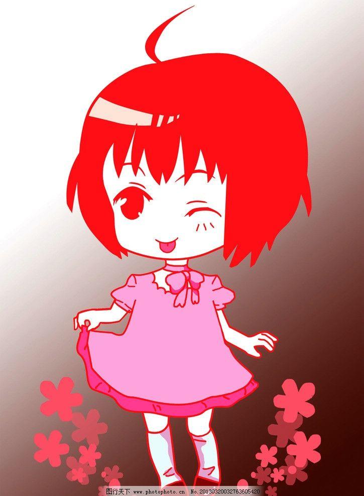 可爱卡通少女 花纹 花瓣 卡通少女 人物 psd分层素材 源文件 300dpi p