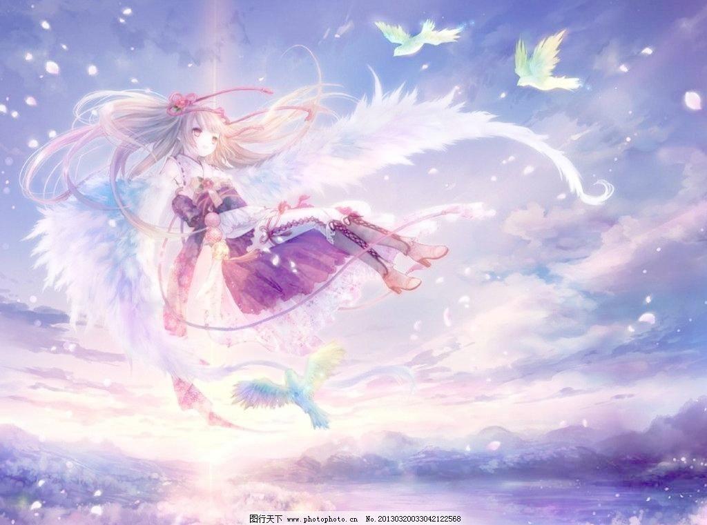 动漫少女 动漫少女图片免费下载 翅膀 动漫动画 动漫人物 天空