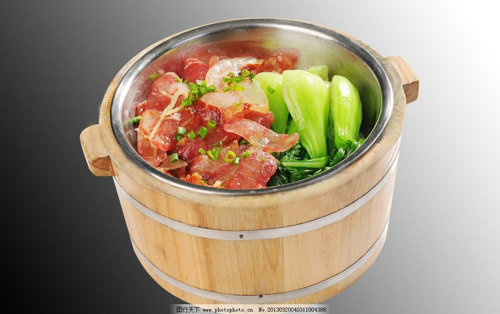 木桶饭 青菜 腊肉 饭 西餐美食
