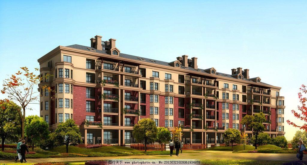 二期单体透视效果图 房地产 建筑 欧式风格效果图