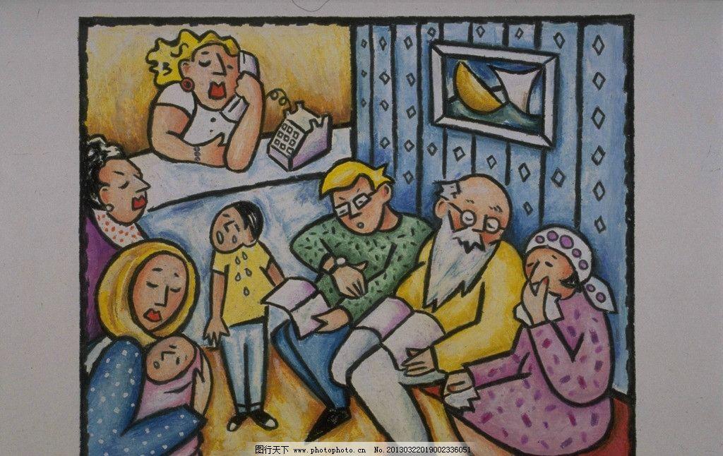 动漫人物 漫画 儿童画 家庭 天伦之乐 一家人 老少 绘画书法 文化艺术