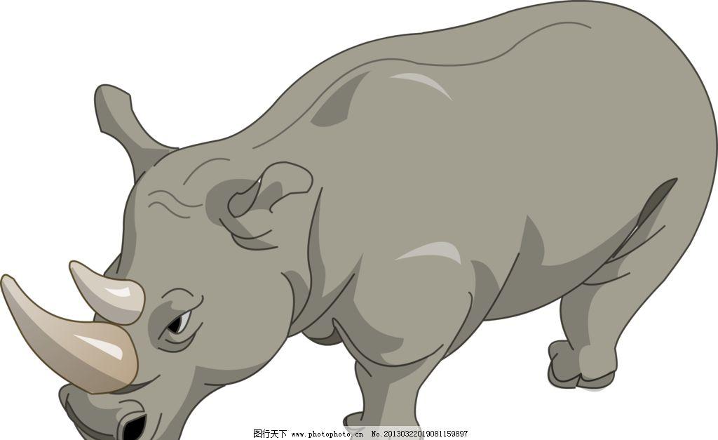 犀牛 动物 野生 哺乳动物 犀科 手绘 电脑绘画 绘画书法 文化艺术