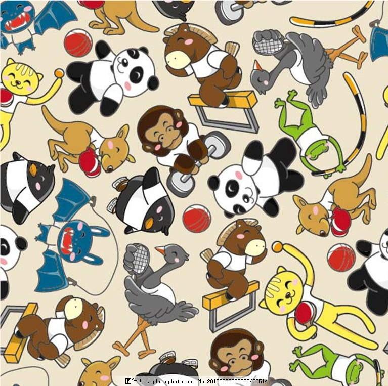 小动物 熊猫 星星 鸵鸟 金钱豹 小熊 袋鼠 河马 插画 背景画 动漫