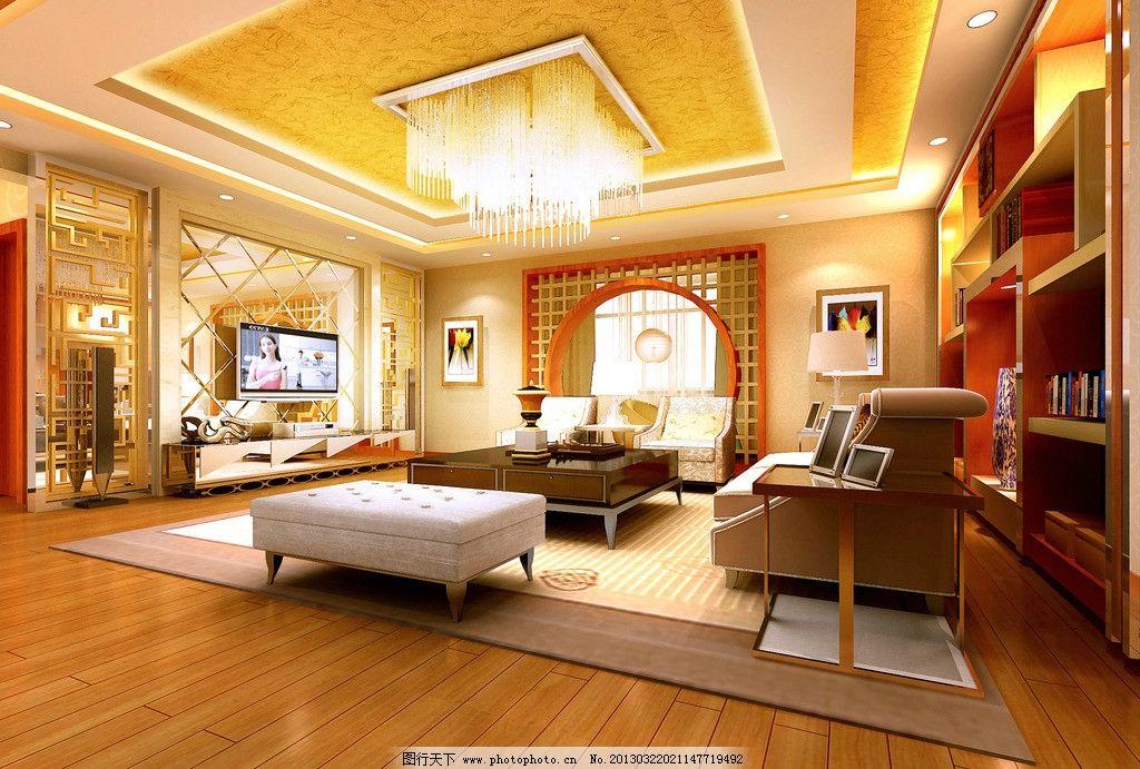 二层客厅效果图图片_3d作品设计_3d设计_图行天下图库
