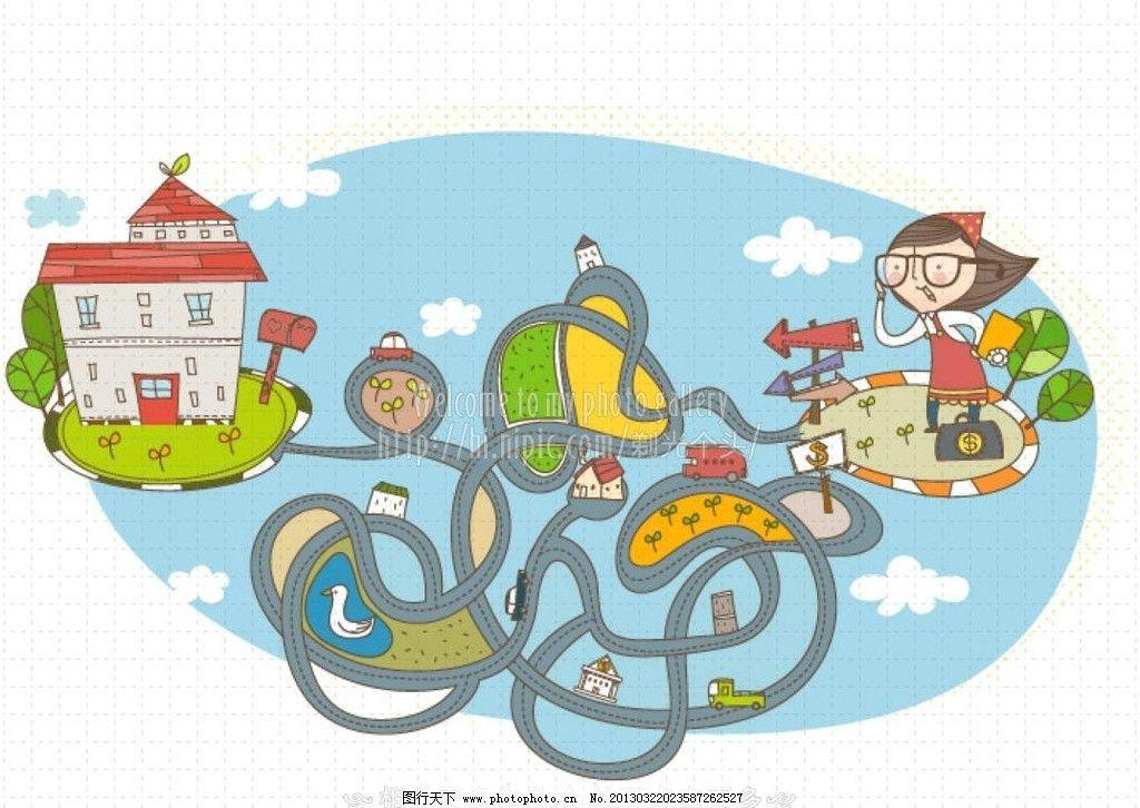 迷宫 道路 卡通道路 卡通公路 卡通小女孩 卡通儿童 儿童幼儿 矢量