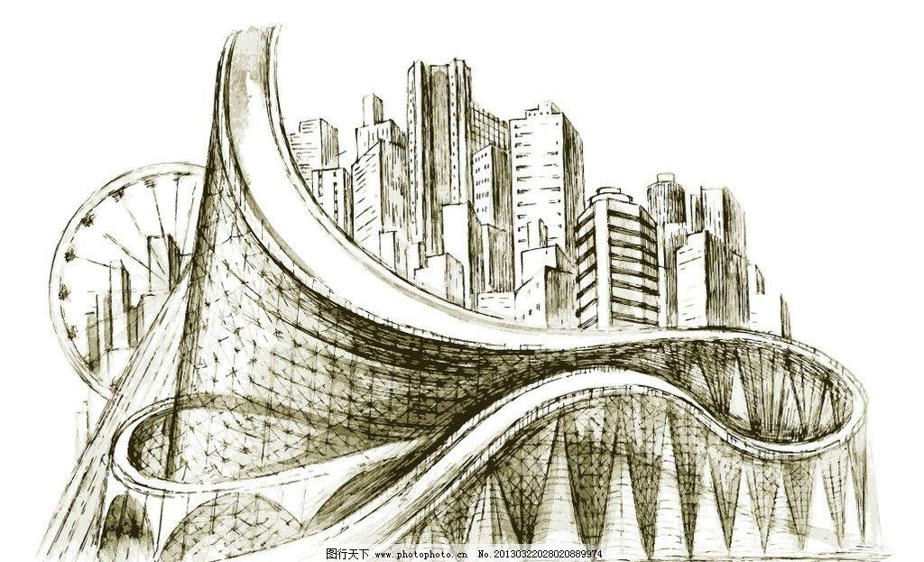 线描城市图片_建筑设计_环境设计_图行天下图库