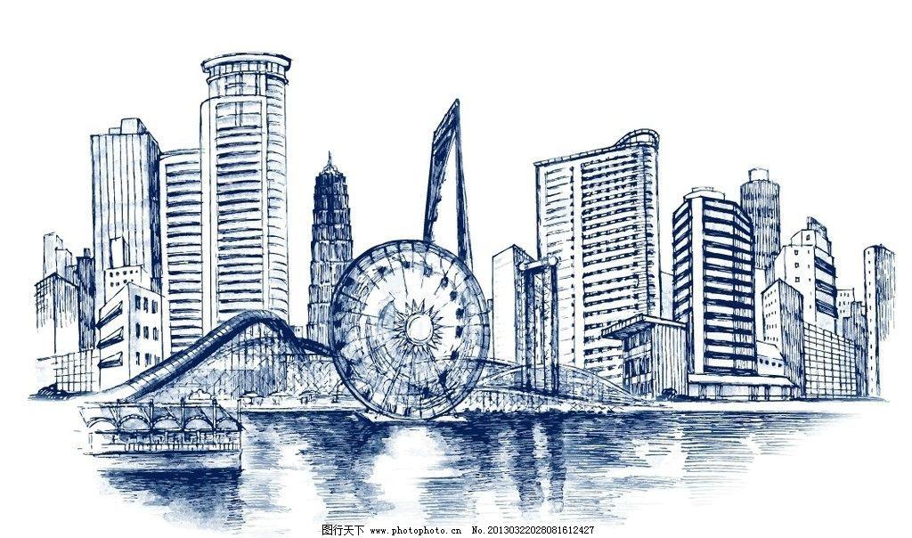 设计图库 环境设计 建筑设计  线描城市 城市 摩天轮 立交桥 素描