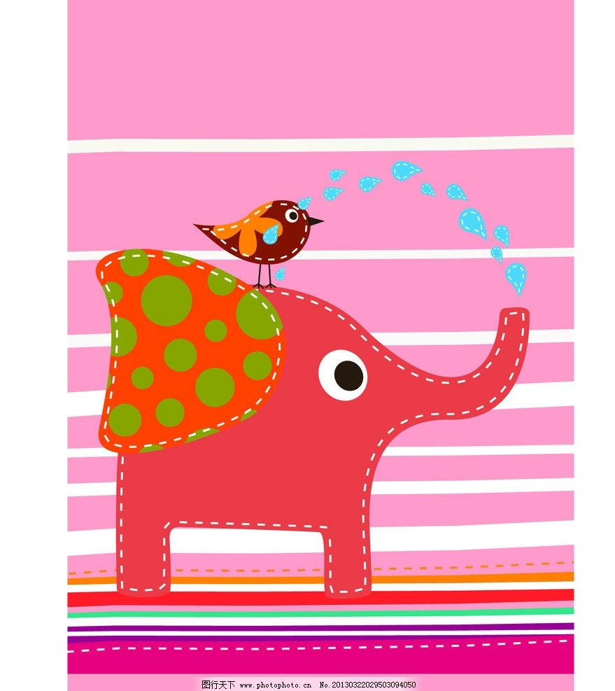 大象 小鸟 喷水 矢量 卡通 矢量源文件图片