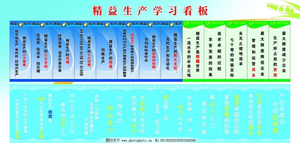 精益生产宣传看板 边框 底纹 生产标语 蓝色背景 展板模板 广告设计