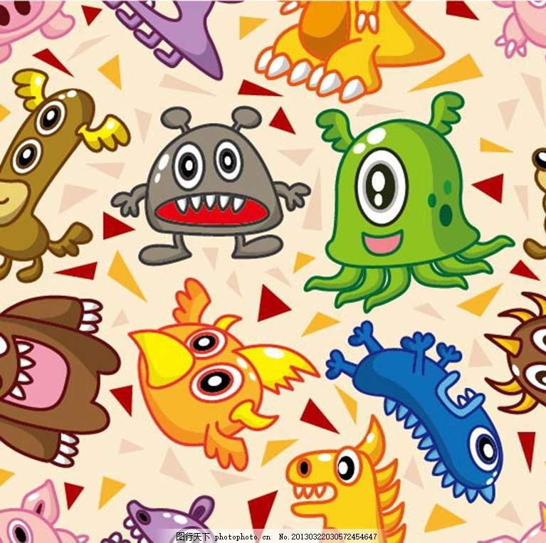 小怪物 卡通动物背景