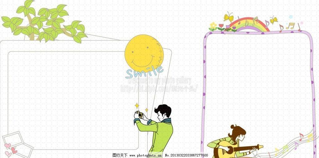 青少年框 音乐符号 手绘音符 树木 青年 拍摄 卡通对话框 卡通花边
