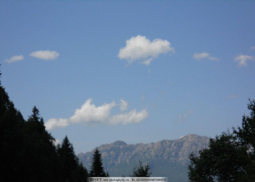 蓝天白云 蓝天 白云 森林树木 山峦 绿树 远景 自然风景 自然景观