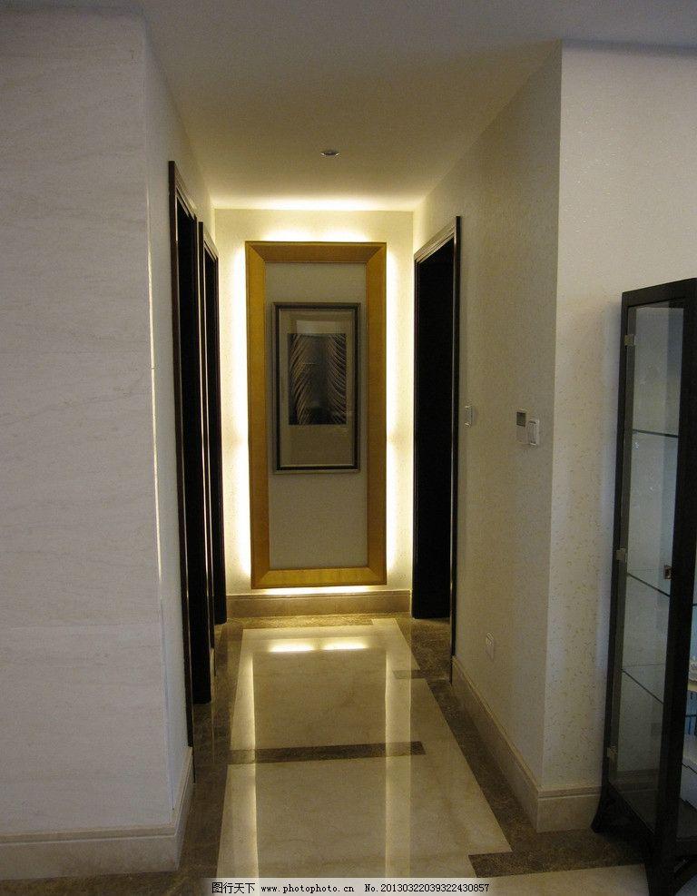 走廊效果图 走廊 地砖 墙纸 踢脚线 灯光 门套 室内摄影 建筑园林