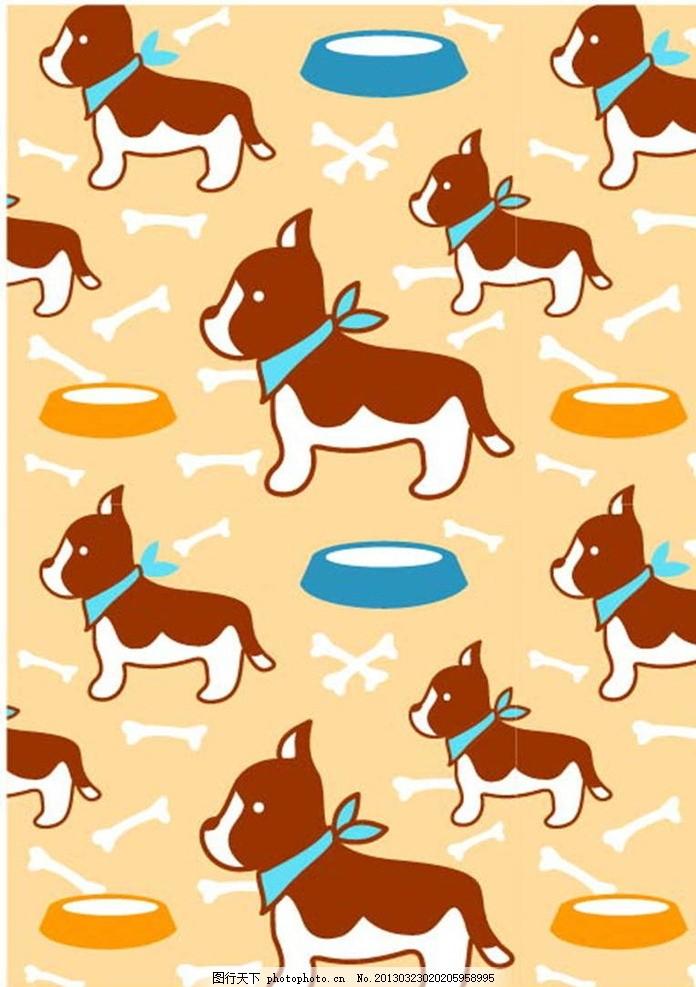 小狗 狗狗 斗牛犬 骨头 狗食 插画 背景画 动漫 卡通 时尚背景 背景