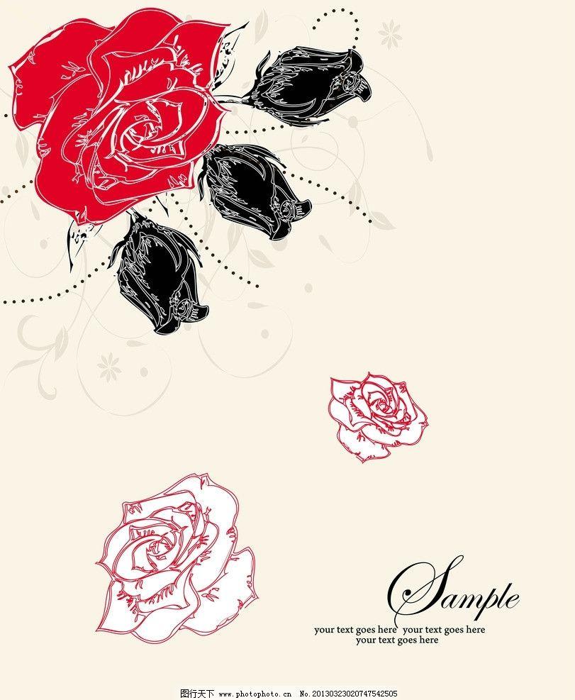 花朵移门 红花 藤蔓 英文 玫瑰 线条