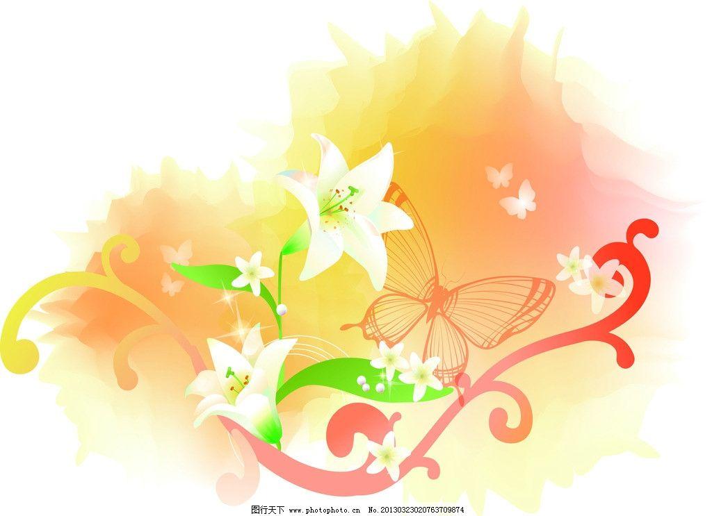 花纹移门 花朵 百合 线条 藤蔓 蝴蝶 底纹边框 移门图案