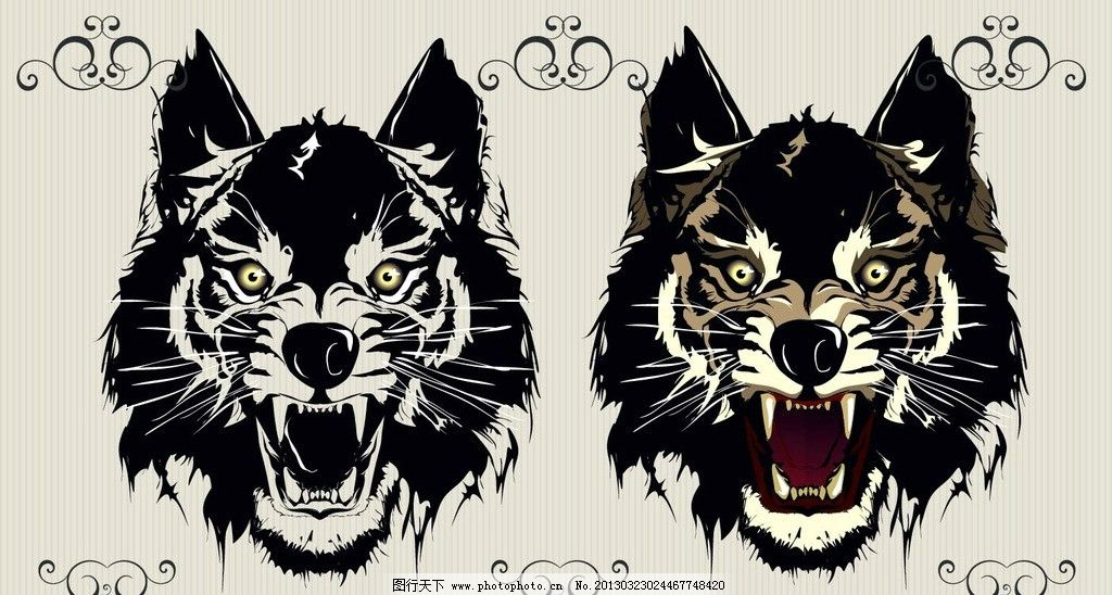 动物 狼 凶猛 野生动物 狼头 图腾 花纹 动物剪影 线稿 印花 t恤 烫画