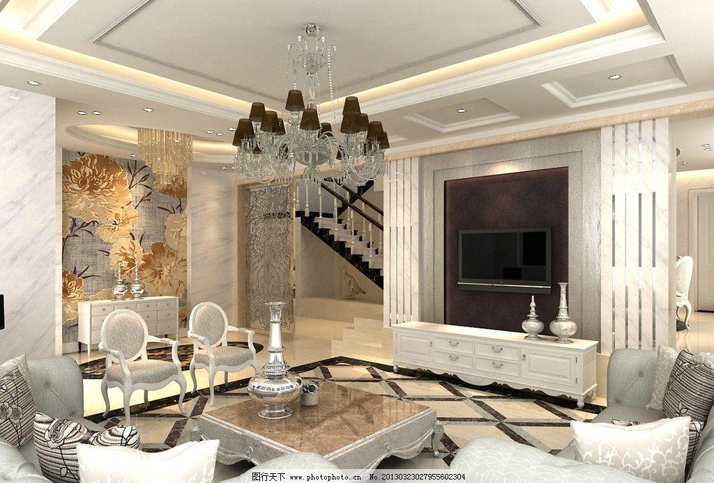 欧式客厅 欧式别墅效果图 别墅 简约欧式客厅 简欧客厅 室内设计 环境