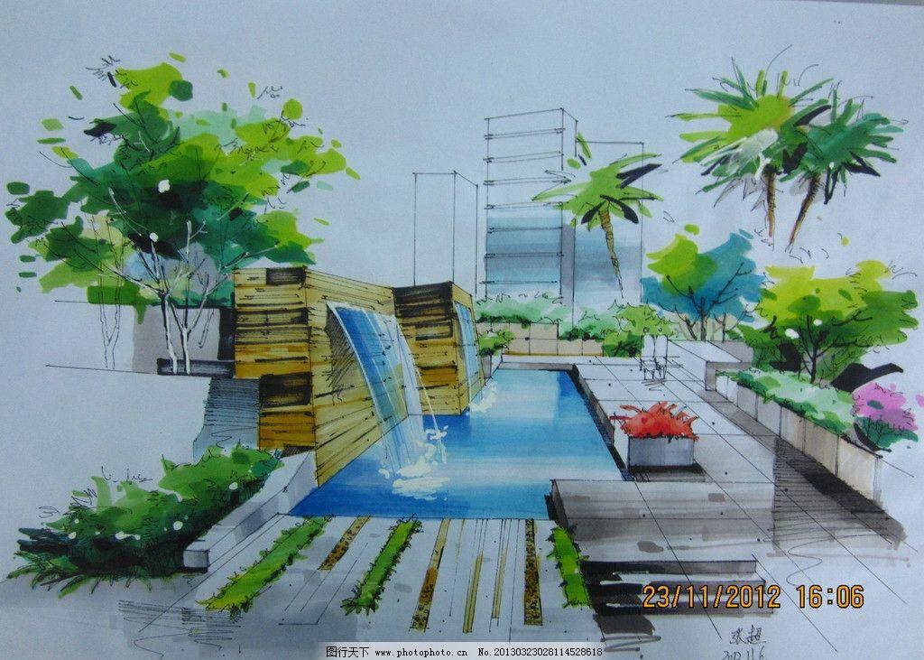 手绘景观效果图 手绘 景观        园林 表现图 景观设计 环境设计