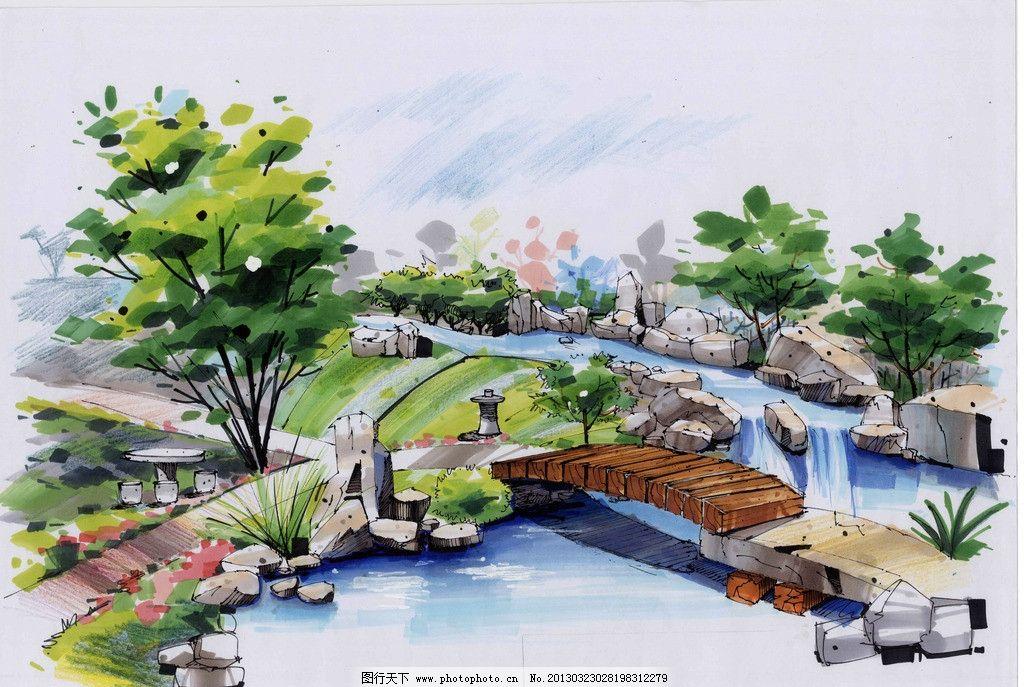 手绘景观效果图 手绘 景观