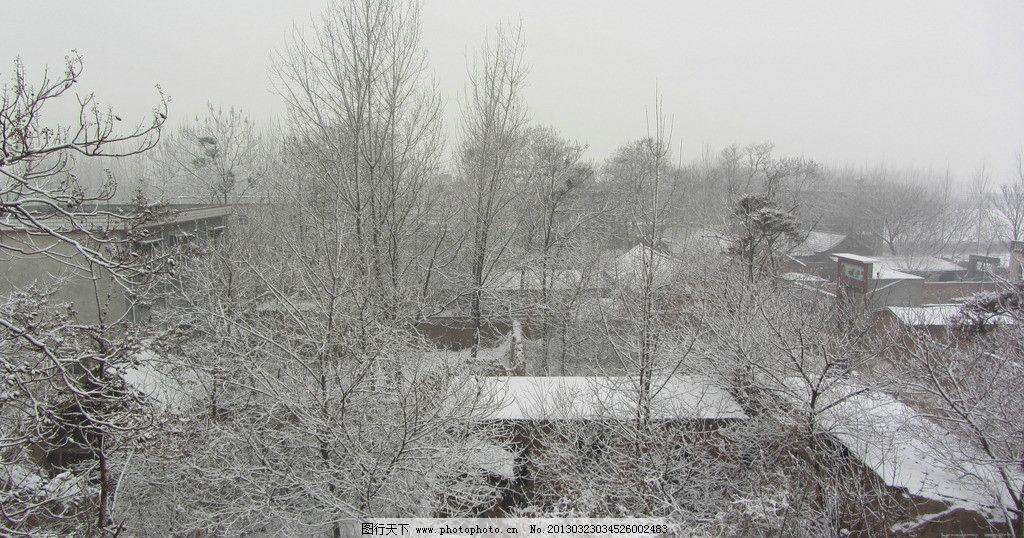 雪景 乡村 树木 房子 下雪 自然 田园风光 自然景观 摄影 180dpi jpg