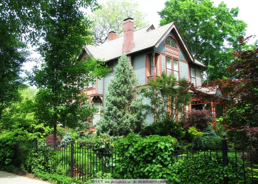 别墅 树木 道路 绿色 红色 房子 建筑 家居 生活 家居生活