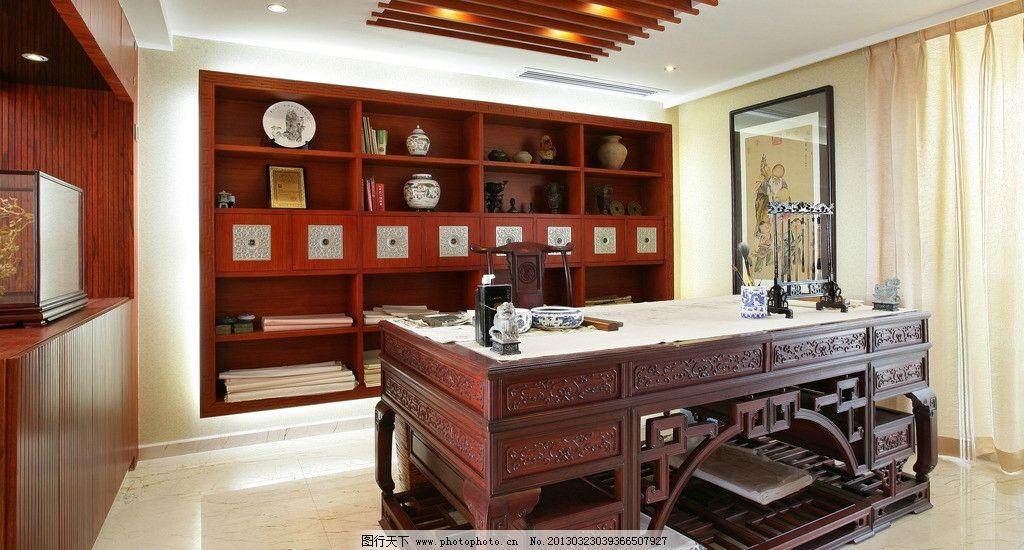 书房 中国风 书桌 书柜 摄影图      jpg 装修效果图 室内摄影 建筑
