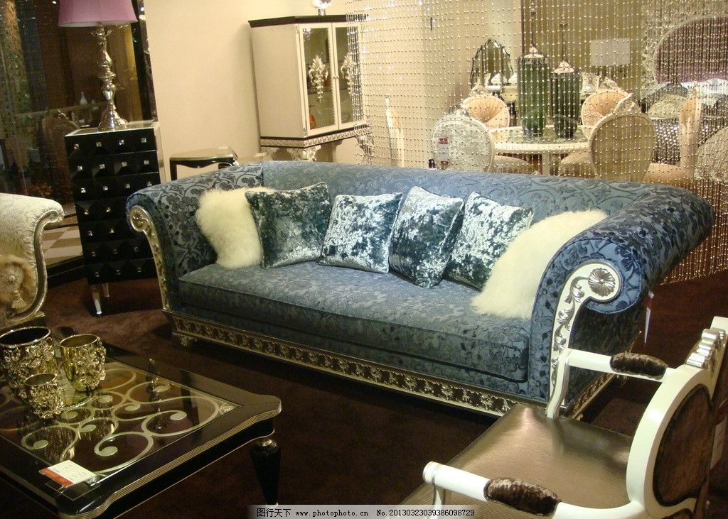 布艺沙发 布艺 沙发 欧式 贵族 浅蓝色 家具 室内摄影 建筑园林 摄影