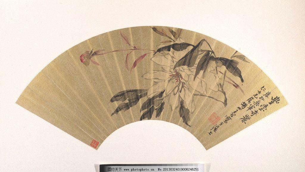 扇面 折扇 国画 中国画 水墨画 中国风 花卉 美术馆藏品 绘画书法