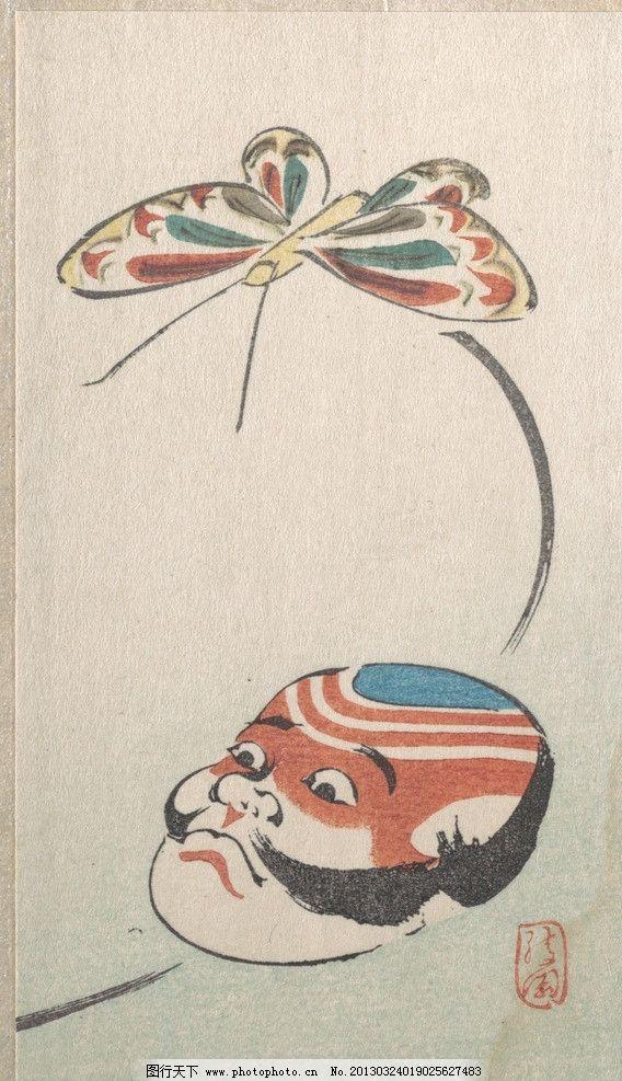 浮世绘 版画 日本 绘画 传统 美术 艺术 脸谱 蝴蝶 美术馆藏品 绘画