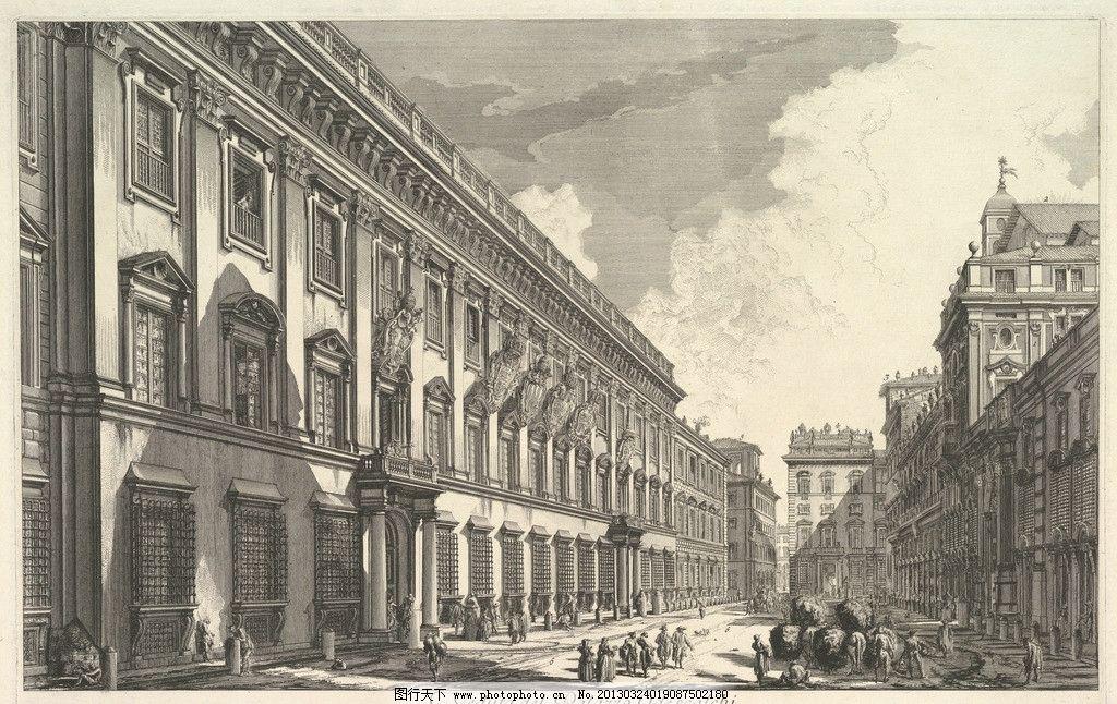 铜版画 钢笔画 黑白 线条 欧洲 古典 建筑 透视 美术馆藏品