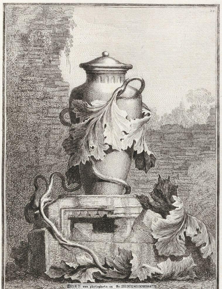 欧式花瓶竖版画