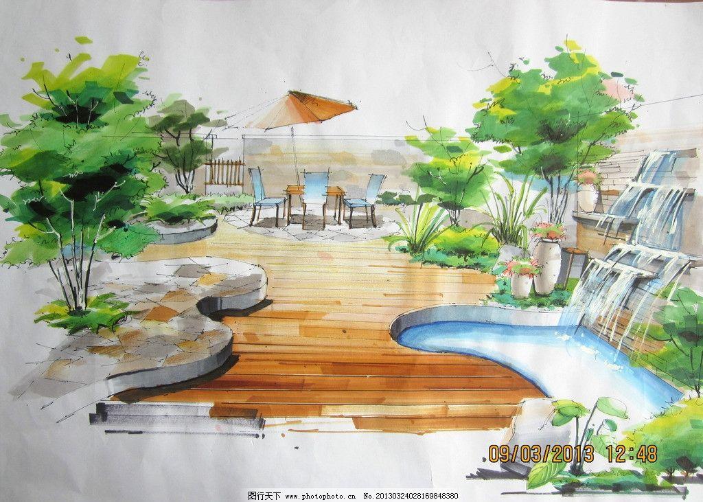 景观手绘效果图 麦克笔 小品 景观小品 园林
