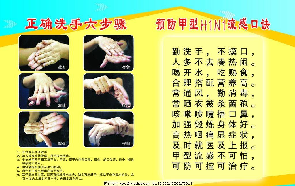 洗手六步骤 洗手流程 儿童 幼儿园 小学生 洗手步骤 展板 展示板
