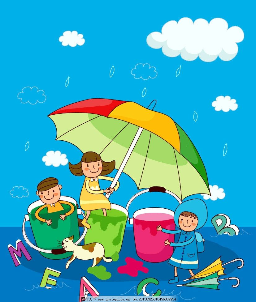 雨伞图片_风景漫画_动漫卡通_图行天下图库