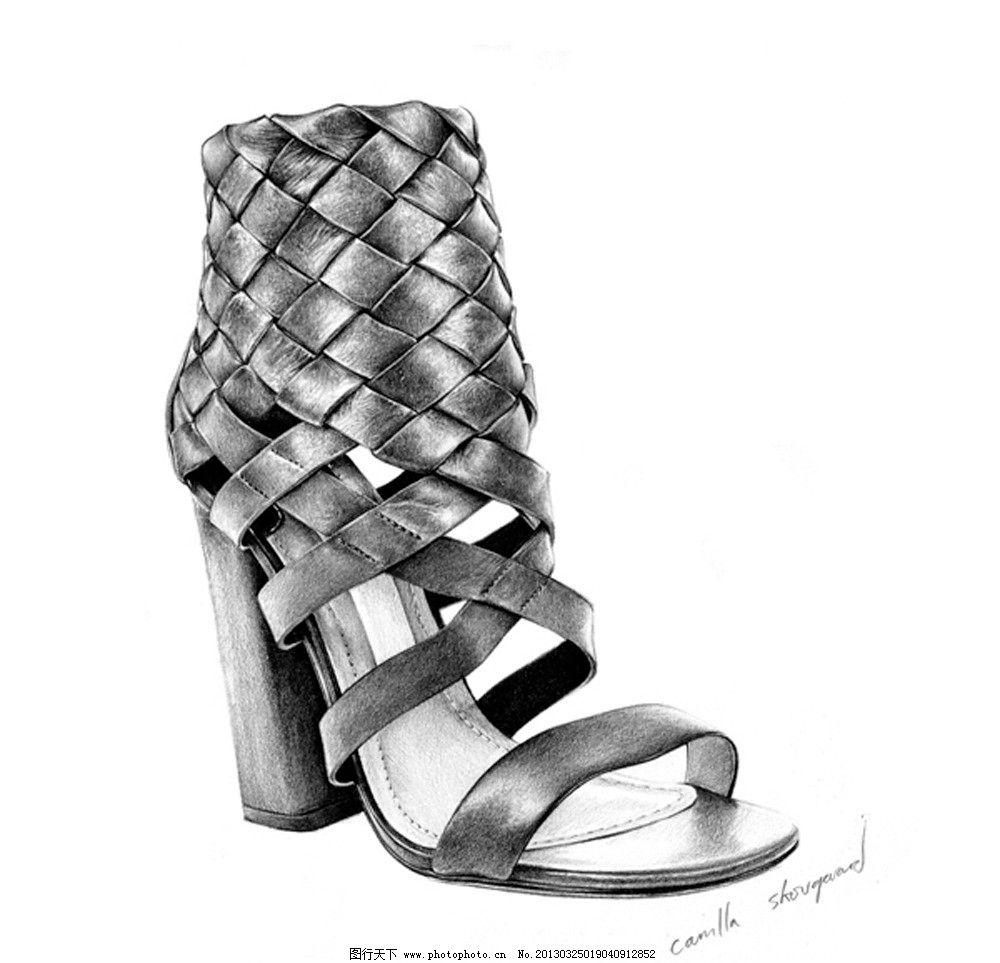 鞋子 高跟鞋 凉鞋 铅笔画