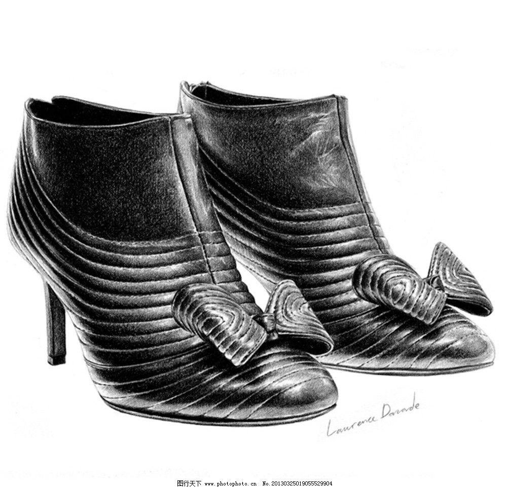 手绘 铅笔画 高跟鞋