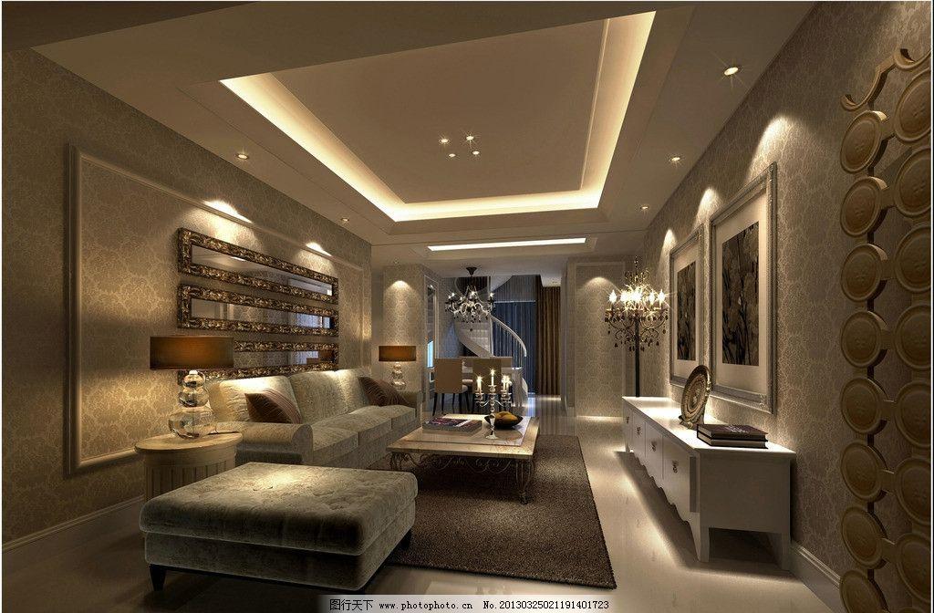 室内 高清 豪华软装 高档欧式沙发 石膏吊顶 创意壁挂图片