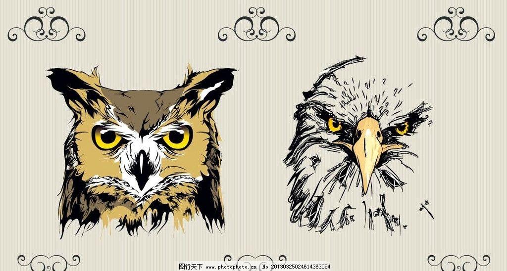 装饰画 卡通 老鹰 抽象 线条 烫画 丝印 酷 时尚 鸟类 生物世界 矢量