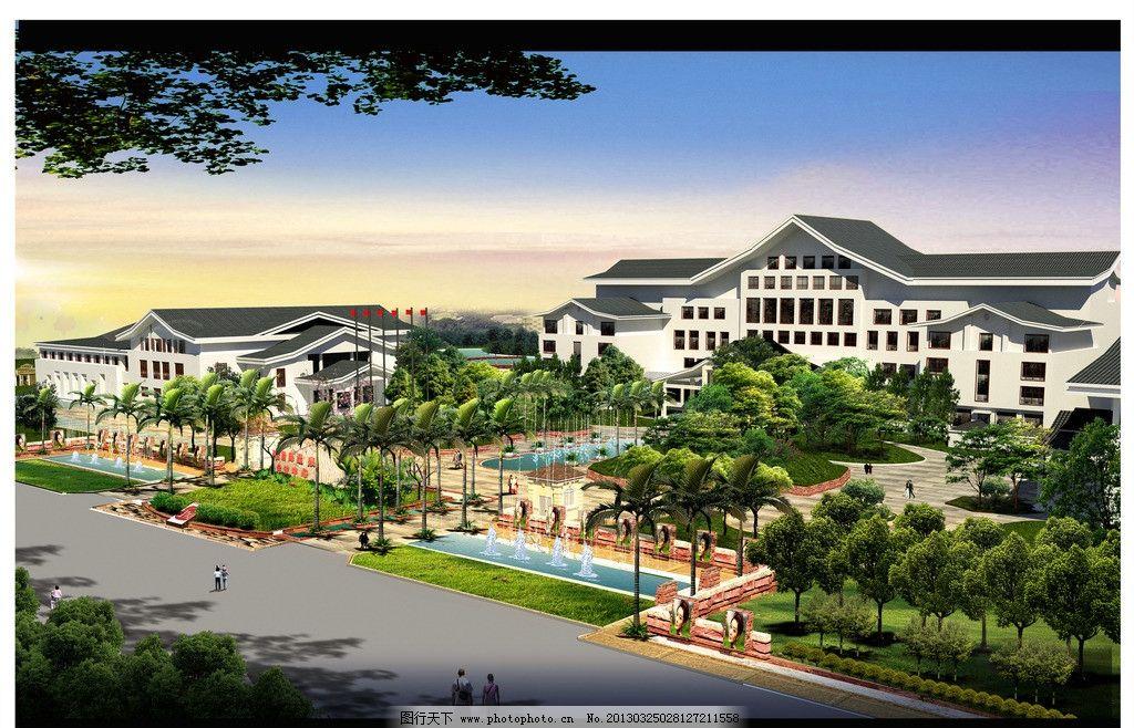 温泉效果图 温泉        建筑 徽派 中式 景观设计 环境设计 设计 300图片