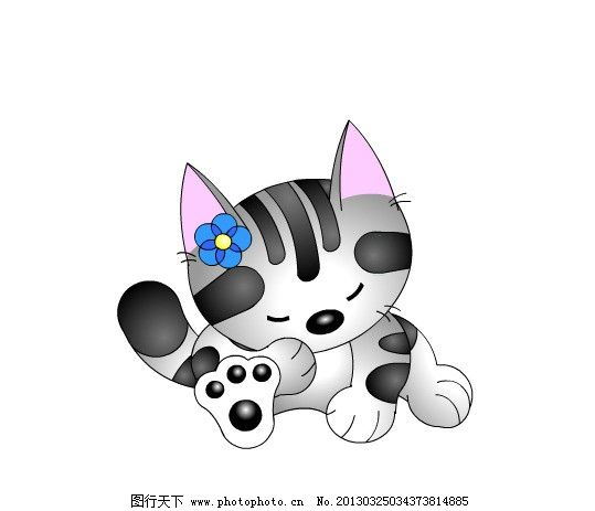 矢量可爱小猫 灰色小花 花小猫 黑白花小猫 女小猫 坐着的小猫 其他