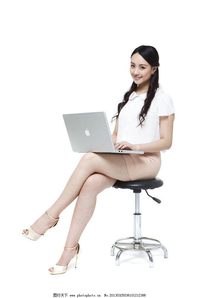 办公白领 美女 办公 白领 秘书 电脑 女生 长发 苹果 笔记本 椅子