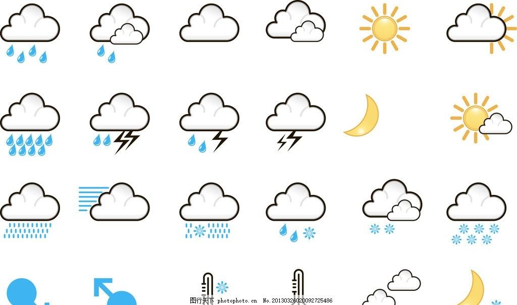 天气图案 天气预报 太阳 云 月球 月全食 日全食 阵雨 阵雪