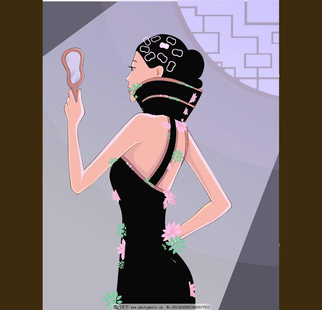 古典 镜子 高贵 女子 旗袍 窗户 光亮 盘头发 苗条 美背 矢量人物