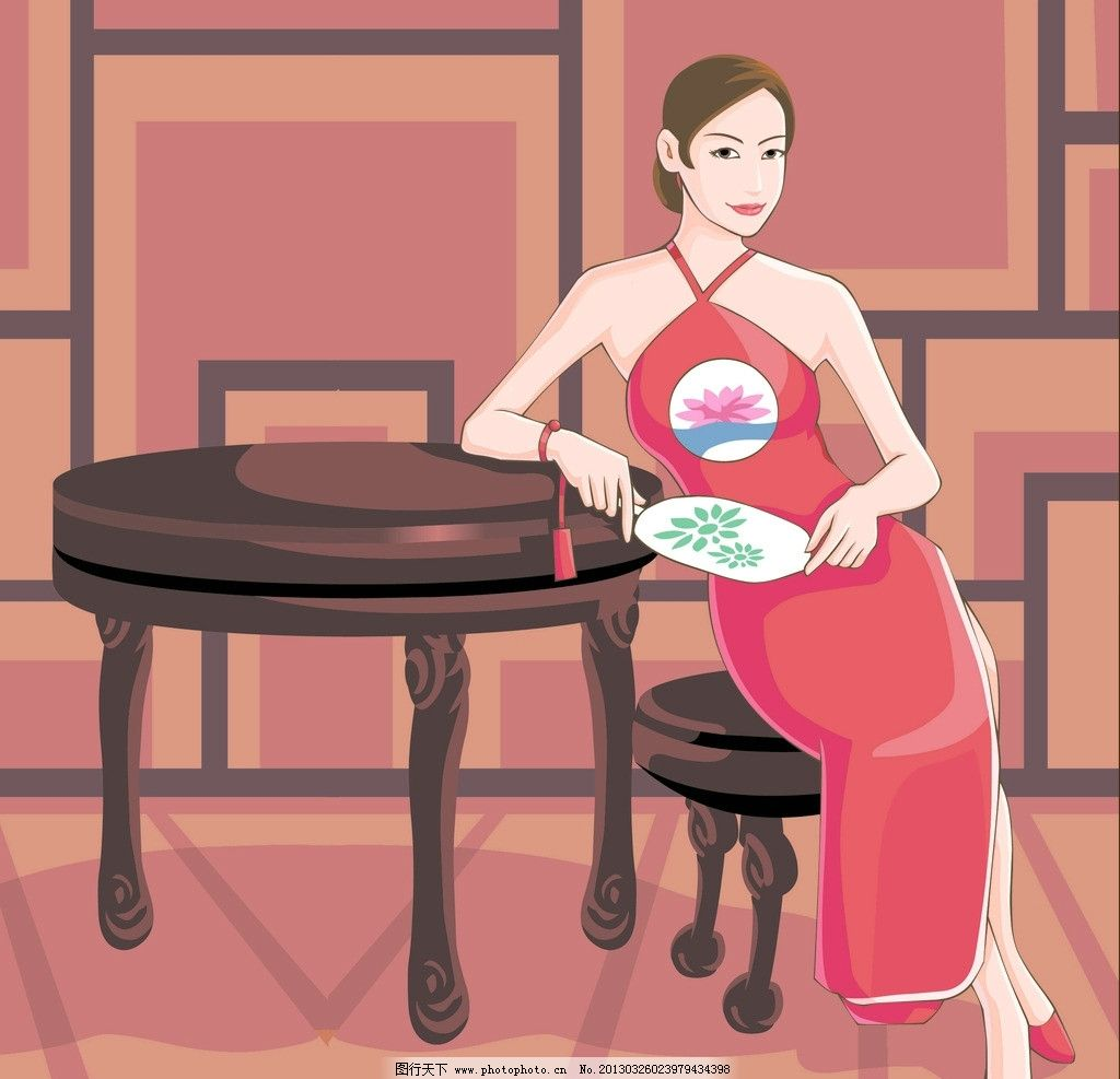 古典旗袍女图片