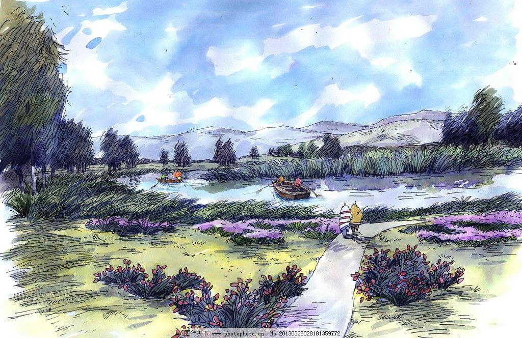 手绘 风景 自然图片