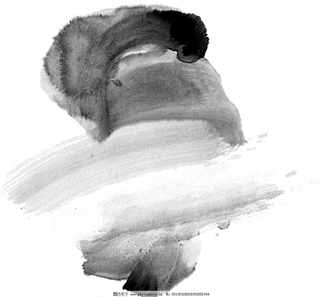 水墨笔画素材 黑白灰 国画 笔触 画册设计 广告设计