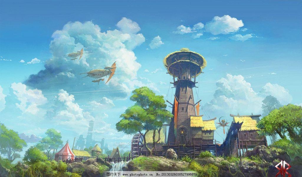 手绘魔幻风景 风景 梦幻 魔幻 村庄 唯美 风景漫画 动漫动画 设计 72d