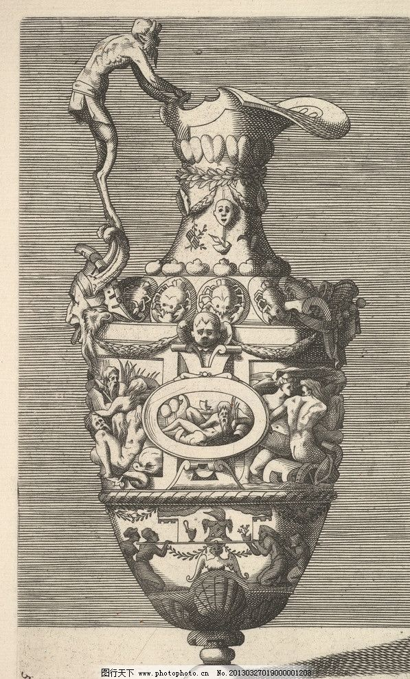 铜版画 版画 欧洲 钢笔画 装饰画 黑白 线条 花瓶 美术馆藏品 绘画图片