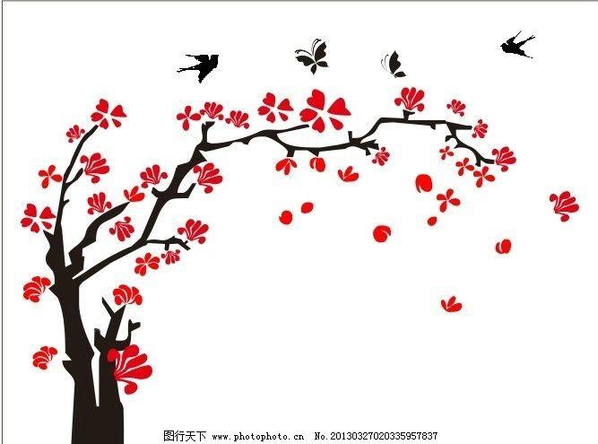 矢量花纹 树枝 花朵 电视背景墙 红花 矢量鸟 时尚花纹 花纹花边 底纹